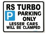 RS TURBO Large Sign for escort s1 s2 series 1 2 3 s3